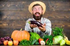 Lutte contre les parasites organique Homme avec le fond en bois de barbe Agriculteur avec les l?gumes organiques Excellente r?col photo libre de droits