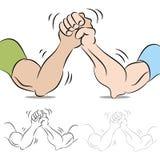 Lutte de bras de deux personnes illustration de vecteur