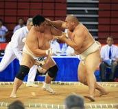 Lutte de sumo dans l'action Photo stock