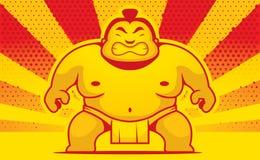 Lutteur de sumo de bande dessinée Images libres de droits