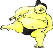 Lutteur de sumo se préparant au combat Images libres de droits