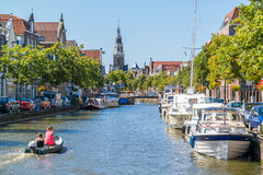 Luttik Oudorp canal and weigh house in Alkmaar, Netherlands Royalty Free Stock Photos