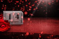 Luty 14, backgroun, róże i serca dla walentynki ` s da, Obrazy Stock