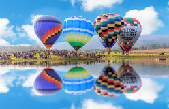 Luty 17 2017: Gorące powietrze balonów przedstawienie przy Singha parkiem Chiangrai Obrazy Royalty Free
