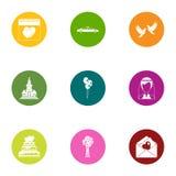Luty ikony ustawiać, mieszkanie styl ilustracja wektor