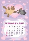 Luty 2017 kalendarz Obrazy Stock
