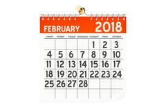 Luty 2018 kalendarz, 3D rendering Zdjęcia Royalty Free