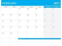 2017 Luty kalendarz & x28; lub biurka planner& x29; z notatkami Zdjęcia Royalty Free