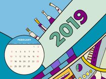 2019 Luty kalendarza dzisiejszej ustawy abstrakcjonistyczny wektor Biurko, ekran, desktop miesi?c 02,2019, kolorowi 2019 kalendar ilustracja wektor