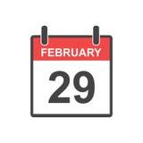 Luty 29 kalendarzowa ikona Zdjęcie Royalty Free