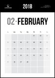 Luty 2018 Minimalistyczny Ścienny kalendarz Zdjęcie Stock