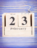 Luty 23th Data 23 Luty na drewnianym sześcianu kalendarzu Zdjęcie Royalty Free
