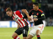 Luuk de Jong PSV Eindhoven and  Chris Smalling Manchester united Stock Photography