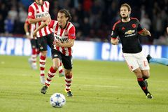 Luuk de Jong PSV Eindhoven and Daley Blind Manchester United Stock Image