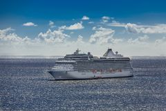 Luury Cruise Ship on Sunny Horizon. In St Kitts Royalty Free Stock Images