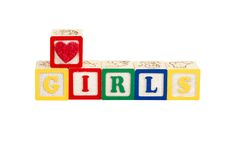 Luv girls white with path. Luv girls on white with path in block letters royalty free stock photography