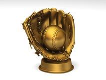 Luva de basebol dourada com uma esfera Fotografia de Stock Royalty Free