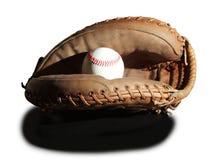 Luva de beisebol e bastão isolados Fotografia de Stock