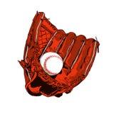 Luva de beisebol e bola de Brown ilustração do vetor