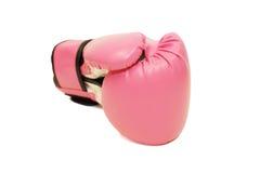 Luva de encaixotamento cor-de-rosa no fundo branco Fotografia de Stock Royalty Free