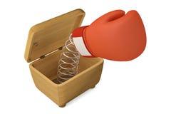 Luva de encaixotamento do gracejo na caixa de madeira ilustração 3D ilustração stock