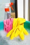 Luva, pano molhado, garrafa do pulverizador, água espumosa Imagem de Stock