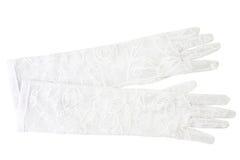 Luvas brancas delicadas isoladas no branco Imagem de Stock Royalty Free