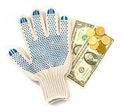 Luvas com dinheiro Imagem de Stock Royalty Free