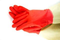 Luvas da borracha da limpeza Fotografia de Stock Royalty Free