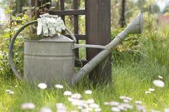 Luvas da lata molhando e do jardim no gramado Fotografia de Stock Royalty Free