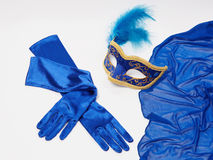 Luvas da máscara e da seda Fotografia de Stock