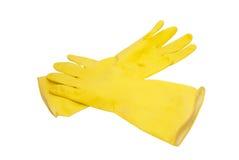 Luvas de borracha amarelas Fotografia de Stock Royalty Free