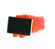 Luvas de borracha da limpeza com esponja Foto de Stock Royalty Free