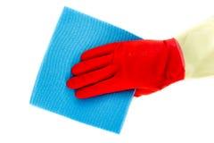 Luvas de borracha da limpeza com pano Imagem de Stock Royalty Free