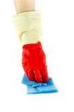 Luvas de borracha da limpeza com pano Fotos de Stock Royalty Free
