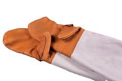 Luvas de couro do trabalho - luvas da segurança Foto de Stock Royalty Free