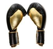 Luvas de encaixotamento de couro de couro douradas e pretas isoladas no branco Imagem de Stock Royalty Free