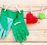 Luvas de jardinagem da mão Imagens de Stock