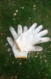 Luvas de jardinagem do branco Imagens de Stock Royalty Free
