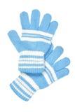 Luvas de lã azuis Fotos de Stock Royalty Free