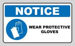 Luvas do desgaste - sinal de segurança, sinal de aviso ilustração stock