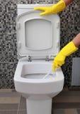 Luvas e bacia de toalete de borracha amarelas fotografia de stock