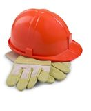 Luvas e capacete protetor Imagem de Stock