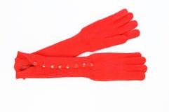 Luvas longas da malha vermelha Imagens de Stock Royalty Free