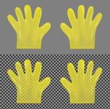 Luvas plásticas transparentes amarelas descartáveis ilustração stock