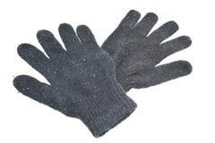Luvas pretas do inverno no fundo branco Fotografia de Stock