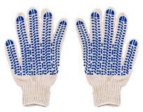 Luvas protetoras dos pares com os pontos azuis da borracha isolados no whi Imagem de Stock