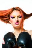 Luvas withboxing da menina 'sexy' Fotografia de Stock