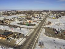 Luverne in South West Minnesota during Winter. Luverne, Minnesota is a small Midwestern Town in South West Minnesota. Taken during Winter with Drone Stock Image
