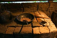 Luwak kaffebönor i en korg royaltyfri bild